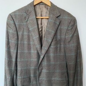 Zegna 100% Cashmere Plaid Two Button Jacket 52